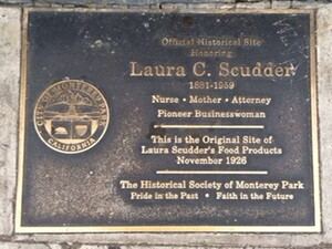 A plaque commemorates Laura Scudder as a 'Pioneer Businesswoman'