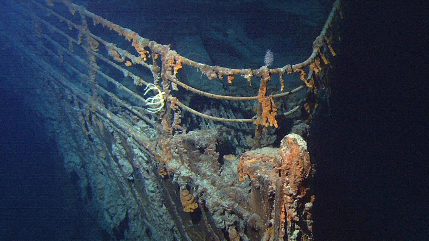 "A section of an underwater relic. | From ""Secrets of the Dead: Abandoning the Titanic"""