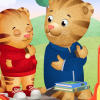 Daniel Tiger's dad teaches hem how to breathe deeply to relax.