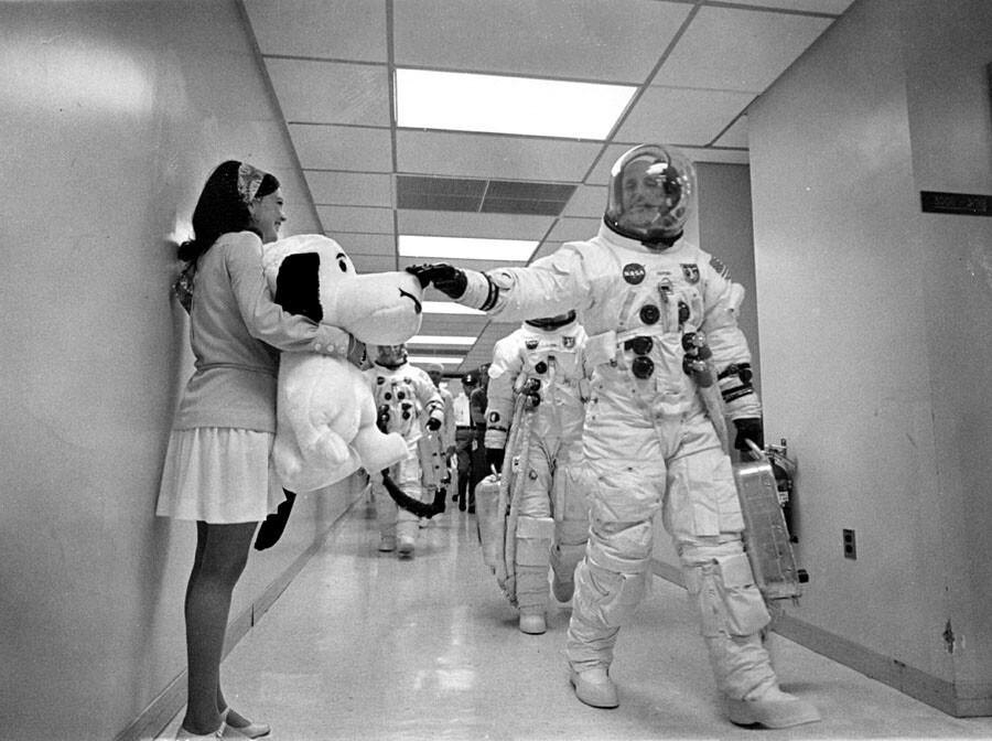 Thomas P. Stafford petting Snoopy. | NASA