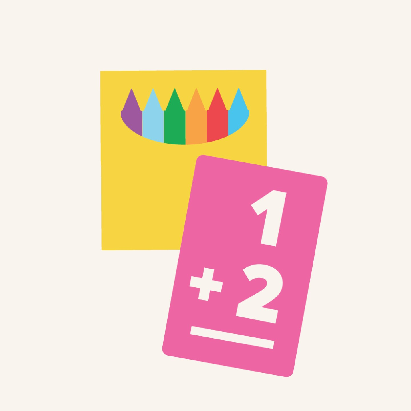 Family Math Icon for Parent Workshops depicting a box of crayons and an addition equation.