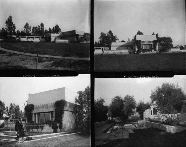 Four views of the Hollyhock House | Photo: Security Pacific National Bank Collection, Los Angeles Public Library