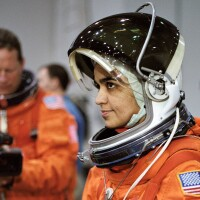 Astronaut Kalpana Chawla, STS-107 mission specialist, prepares to simulate a parachute drop into water during an emergency bailout training session in the Neutral Buoyancy Laboratory.   Flickr/NASA Johnson/Creative Commons(CC BY-NC 2.0)