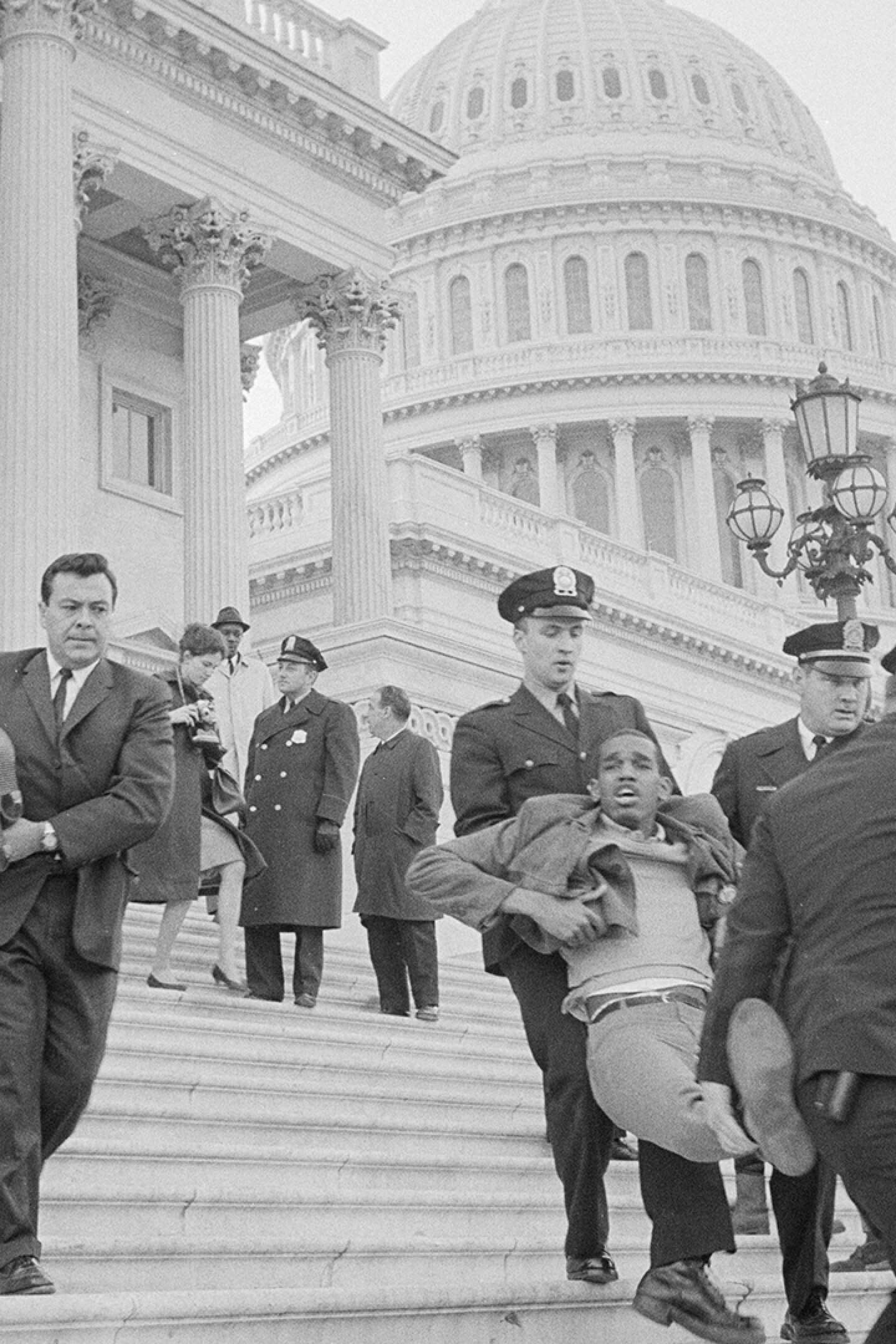 A group of civil rights demonstrators staging a sit-in at the U.S. Capitol on March 15, 1965 featured in POWER & HEALTH.   Courtesy of Warren K. Leffler