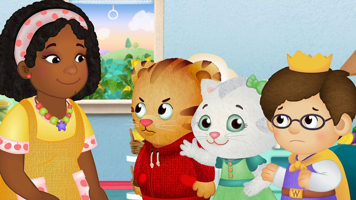 Cartoon of a smiling woman in front of a little boy and two childlike animals. One of the animals, a little tiger, looks angry.