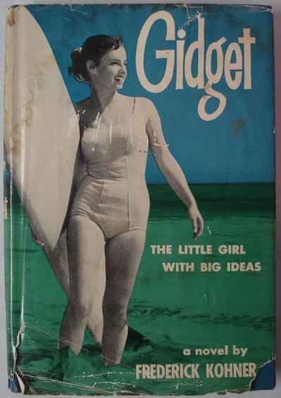 Real life 'Gidget' Kathy Kohner Zuckerman on the cover of the novel