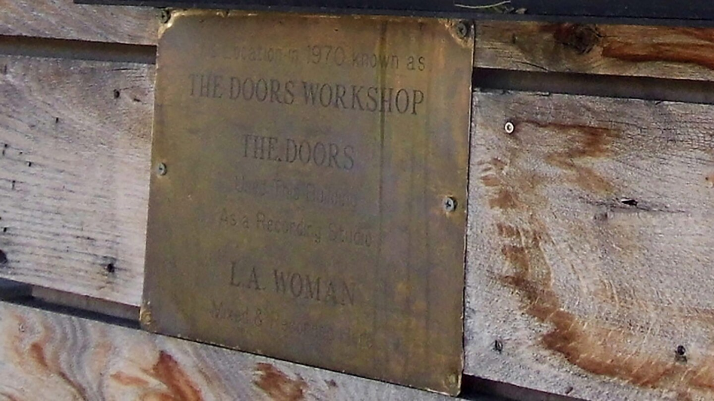 "Detail of plaque in West Hollywood indicating where ""The Doors Workshop"" was until 1971."