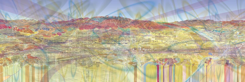 "John Bohn, Red Hill Portion of ""Route 66 Pathway; Pomona to San Bernardino."" 2016. Emaki. (Header)"