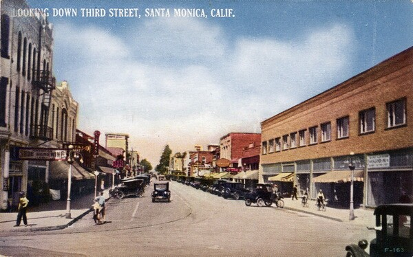 Third Street circa 1927. Courtesy of the Werner Von Boltenstern Postcard Collection, Department of Archives and Special Collections, Loyola Marymount University Library.