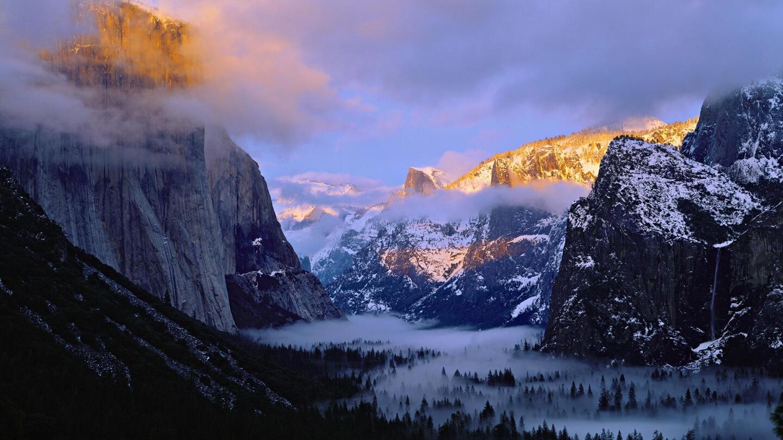 A misty Yosemite Valley in California.