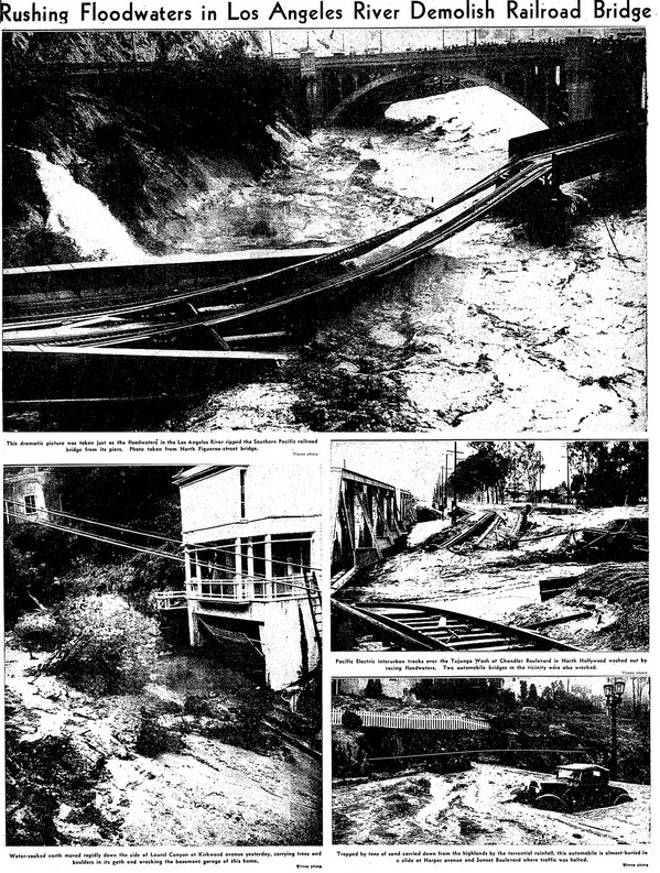 Rushing Floodwaters in Los Angeles River Demolish Railroad -thumb-600x793-24372
