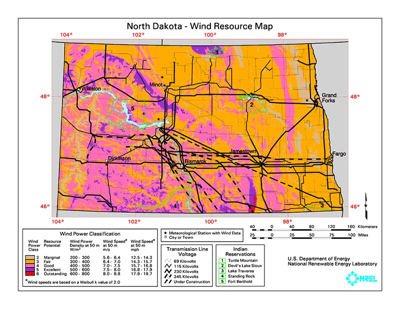Lots of wind potential, not much transmission | Map: National Renewable Energy Laboratory