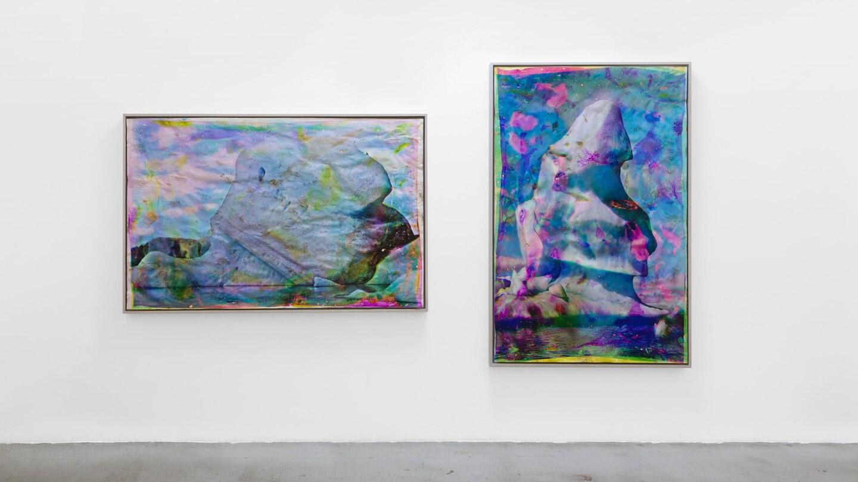 "Matthew Brandt ""Vatnajökull CMY5"" and ""Vatnajökull MYC8,"" 2018–20. Heated chromogenic print, with acrylic varnish and Aqua-Resin support | Photo: Ed Mumford, Courtesy the artist and M+B, Los Angeles"
