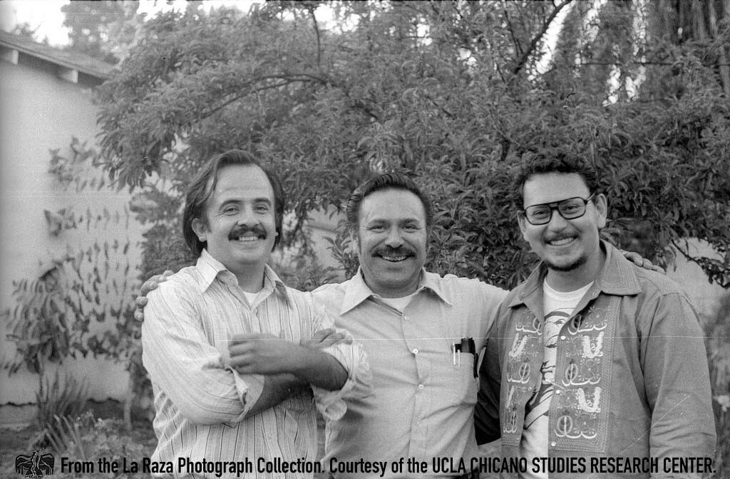 CSRC_LaRaza_B13F2S4_N008 Raul Ruiz and others pose for photograph for Rudy Salas' Wedding | Pedro Arias, La Raza photograph collection. Courtesy of UCLA Chicano Studies Research Center