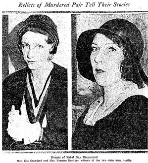 Widows Ella Crawford and Frances Spencer at the trials. Los Angeles Times, August 6, 1931