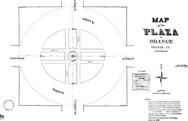 1893 survey map of the Orange Plaza. Courtesy of the Orange County Archives.