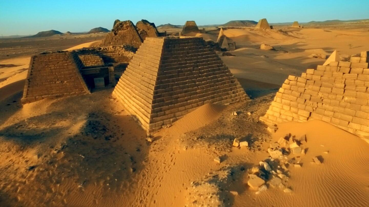 "Pyramids from an ancient civilization in Egypt. | ""Africa's Great Civilizations: The Cross and the Crescent"""