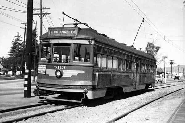The expansion of electric railways made the San Fernando Valley more attractive to prospective residents. Photo of a Pacific Electric car on Sherman Way courtesy of the the Photo Collection, Los Angeles Public Library.