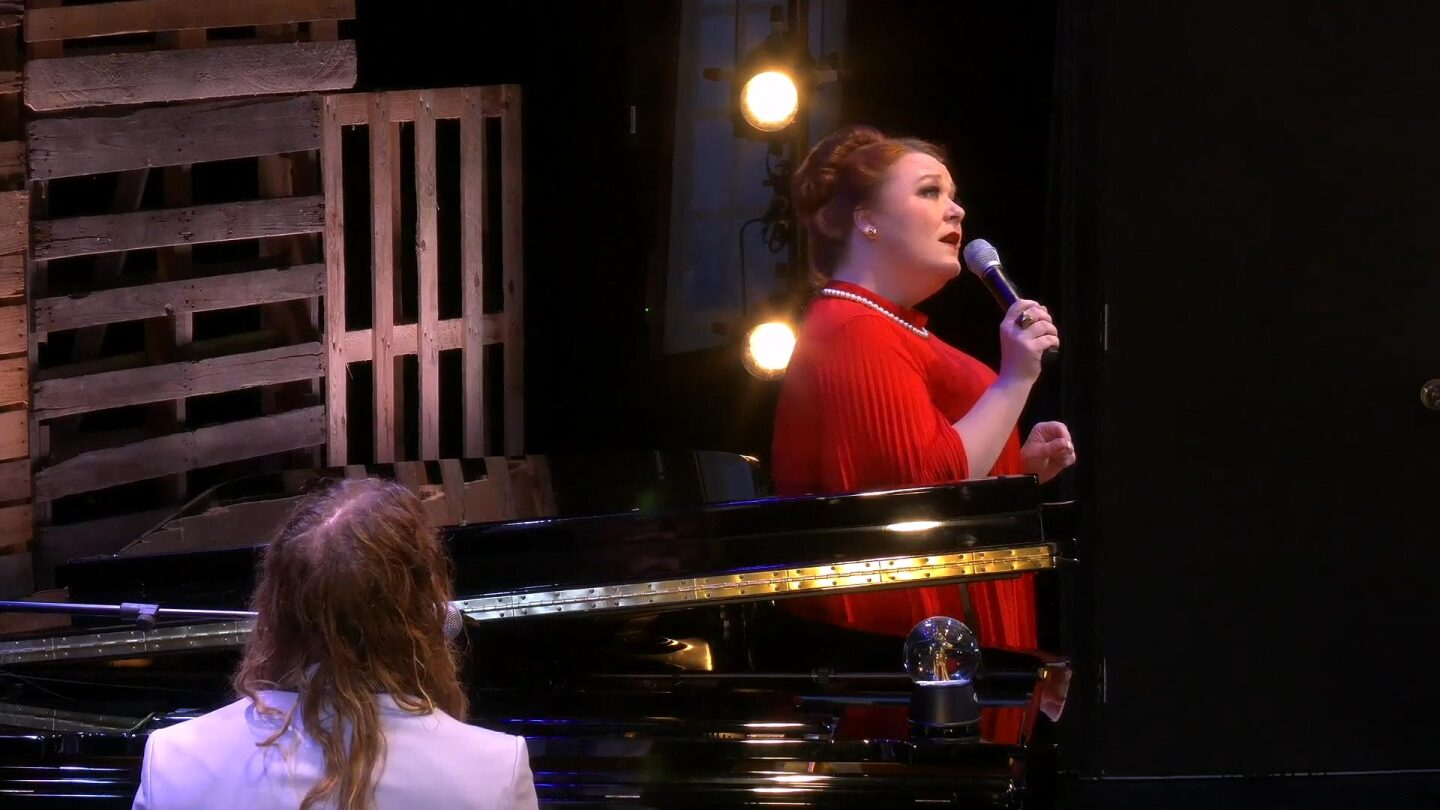 "Audra Mae singing with Dylan Meek on the piano | Still from ""Southland Sessions"" E17: Audra Mae: Songs of Joy & Peace with Dylan Meek"