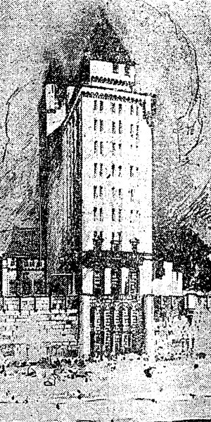 14-story Pacific Coast Club tower | Source: LA Times, 1926