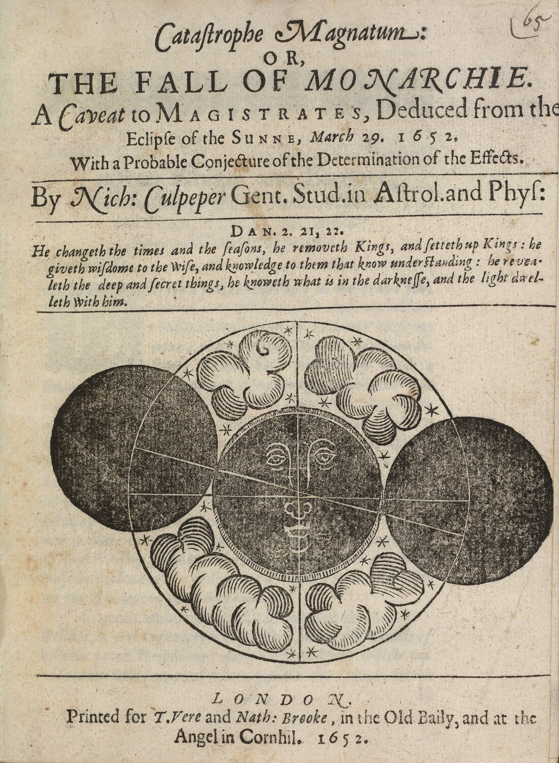 Fulk Bellers, Jesus Christ the Mysticall or Gospell Sun, 1652. Enlargement from scan of original, 60 x 48   Rare Book Collection, Huntington Library