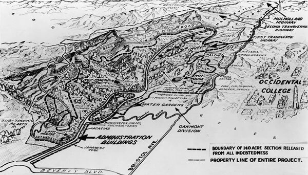 Map of the California Botanic Garden, as envisioned by its planners. Note that the Occidental College campus depicted here never materialized. Courtesy of the California Historical Society Collection, USC Libraries.