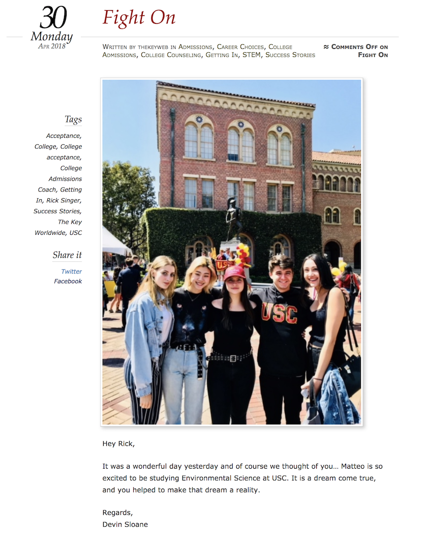 """Fight On"". Devin Sloane's testimonial on The Key Worldwide's website. Sloane was indicted in the college admissions scandal on March 12th, 2019."