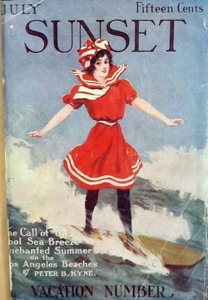 The Girl in the Surf, cover design by J.A. Cahill, July 1911