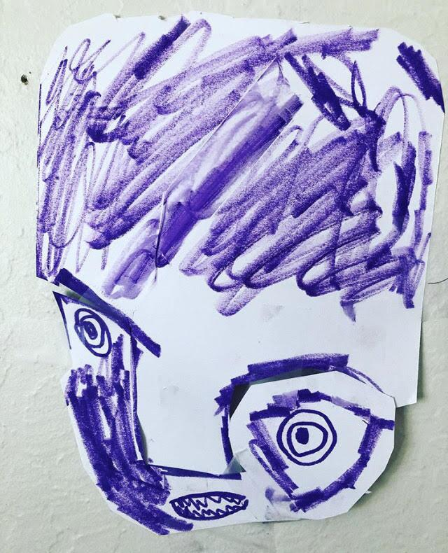 A child's artwork of a purple face featured on Sarah Woo's Art at a Distance Instagram account.