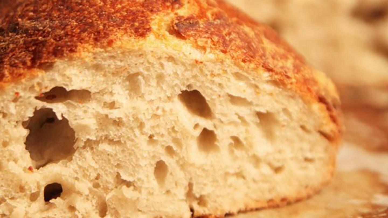 Closeup of a loaf of bread.