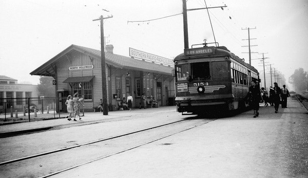 A Pacific Electric trolley at the North Hollywood Station along the present-day Orange Line right-of-way in 1952. Photo by Alan Weeks, courtesy of the Metro Transportation Library and Archive.