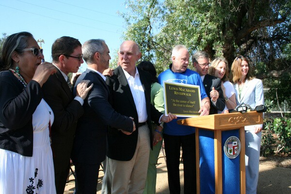 The park's walkway is named in honor of Friend of the L.A. River Lewis MacAdams
