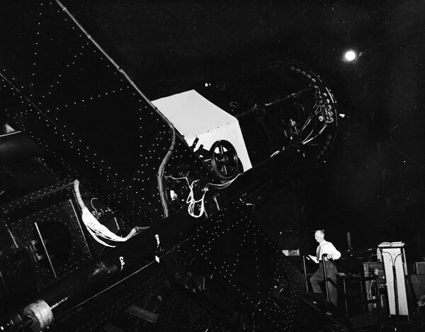 Hickox inside the 100-inch telescope tower in 1955. Courtesy of the Los Angeles Examiner Collection, USC Libraries.