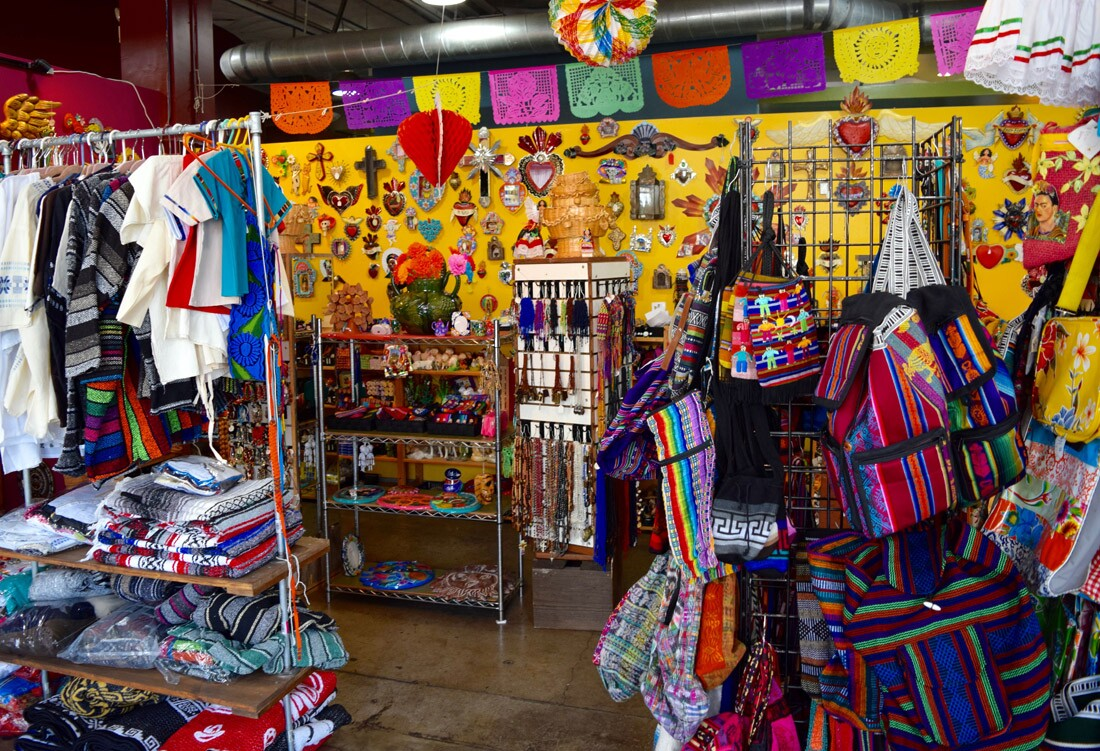 Clothing and crafts sold at Artesanias Oaxacenas
