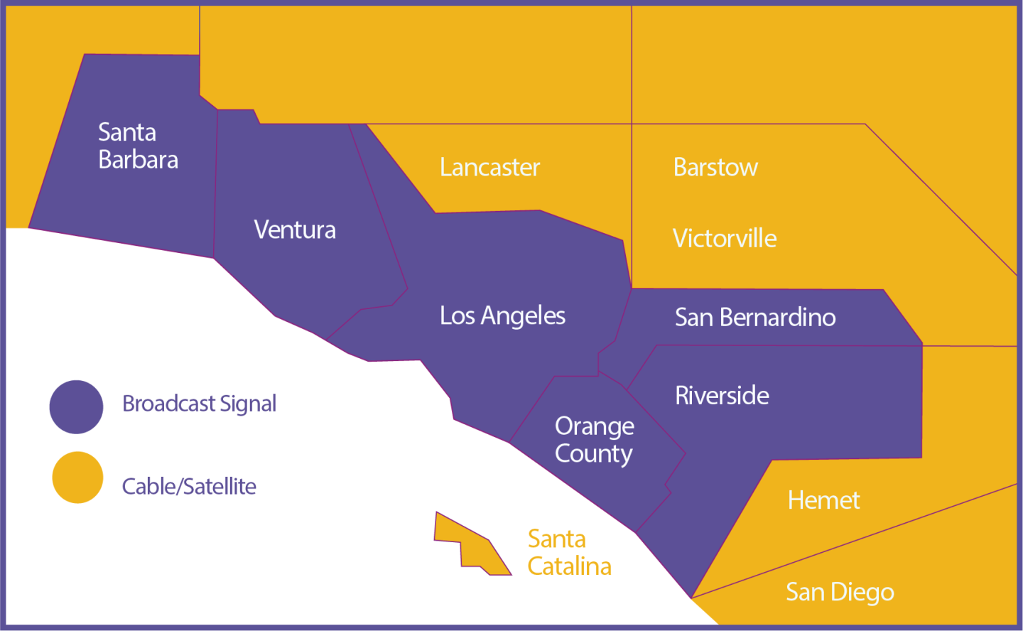 PBS SoCal broadcast map