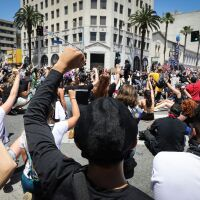Protesters gather at a peaceful demonstration over George Floyd's death in Hollywood on June 3, 2020 in Los Angeles, California   Mario Tama/Getty Images