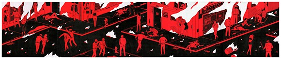 "Cleon Peterson, ""Rule of Law 4,"" 120 x 24"" Acrylic on wood panel, 5 pcs"