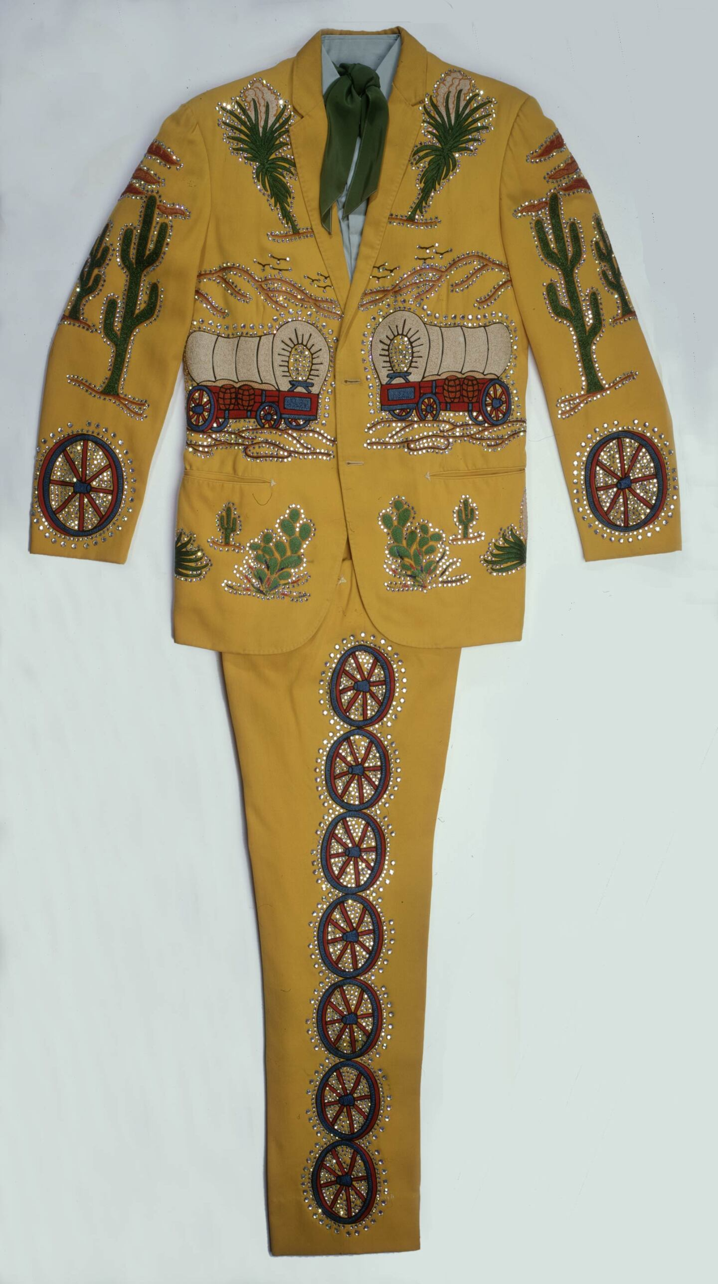 Porter Wagoner's signature Nudie suit is filled with wagons, wagon wheels and cacti | Courtesy of the Autry Museum of the American West
