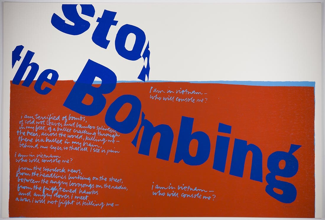 stop the bombing, 1967|Collection UCLA Grunwald Center for the Graphic Arts, Hammer Museum. Corita Kent Bequest.