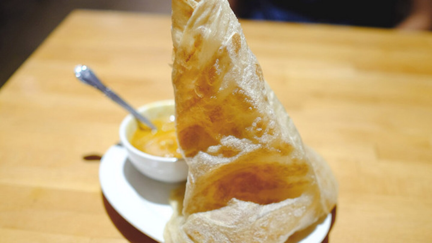 Roti canai served with curry at Penang Malaysian Cuisine in West Covina