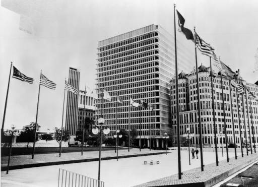 """1972 photograph of """"Court of Flags,"""" Los Angeles Civic Center"""