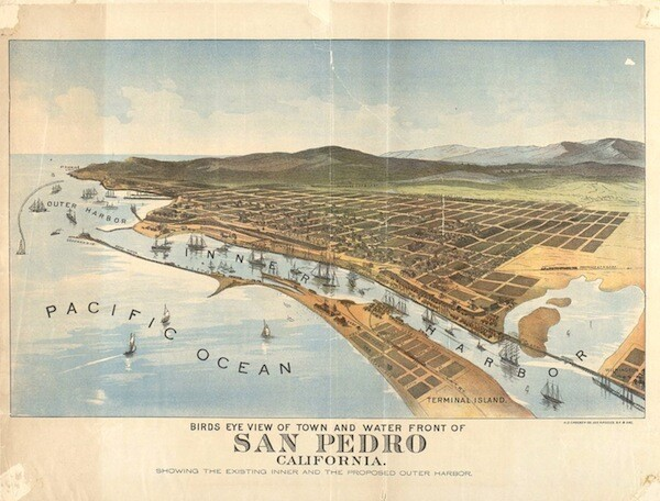 1897 birdseye view of the Los Angeles harbor. Courtesy of the Robert B. Honeyman, Jr. Collection of Early Californian and Western American Pictorial Material, Bancroft Library, UC Berkeley.