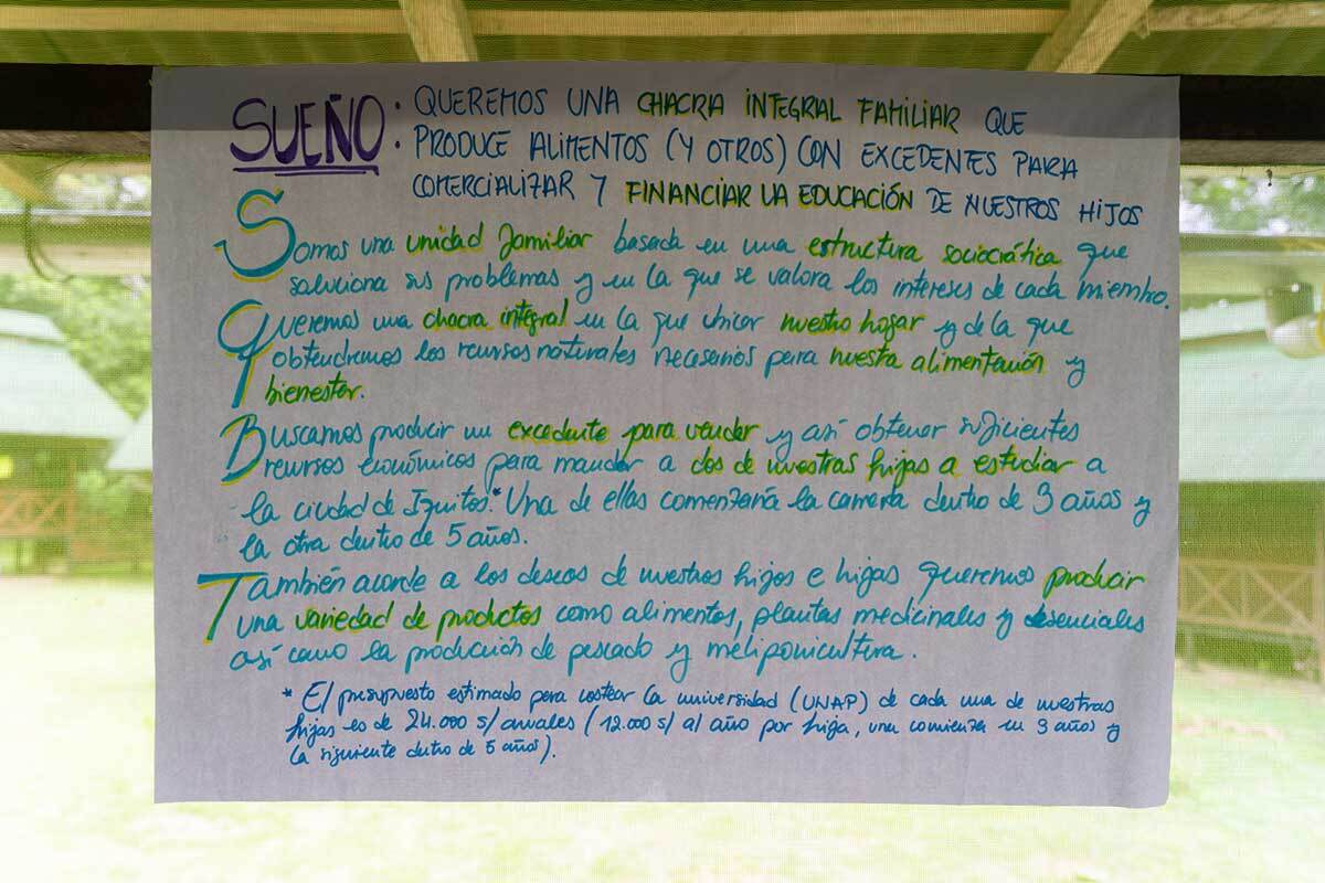 Notes written in Spanish from Chaikuni Institute's 2019 permaculture design course outlining the group's dream to build a chakra integral that produces food to sell and fund their children's education.  | Courtesy of Chaikuni Institute
