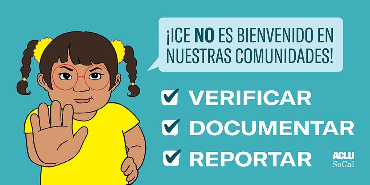 """A Spanish version of a poster with a drawing of a child holding her hand up saying """"ICE is not welcome in our communities."""" 