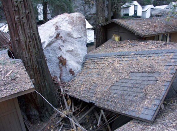 Rock fall damage in Curry Village, October 2008 | Courtesy: National Park Service