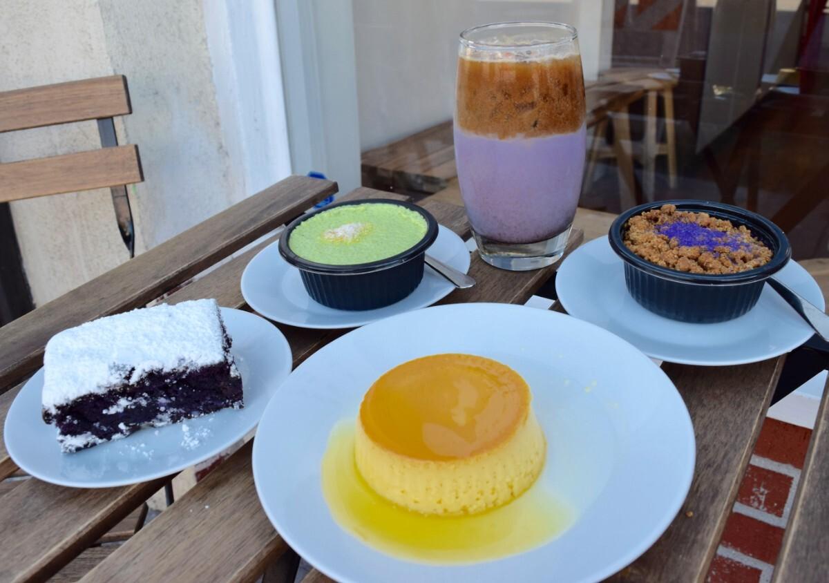 Purplie, pandan chia pudding, mango crème caramel, ube upside down pie, and ube horchata at FrankieLucy   Danny Jensen