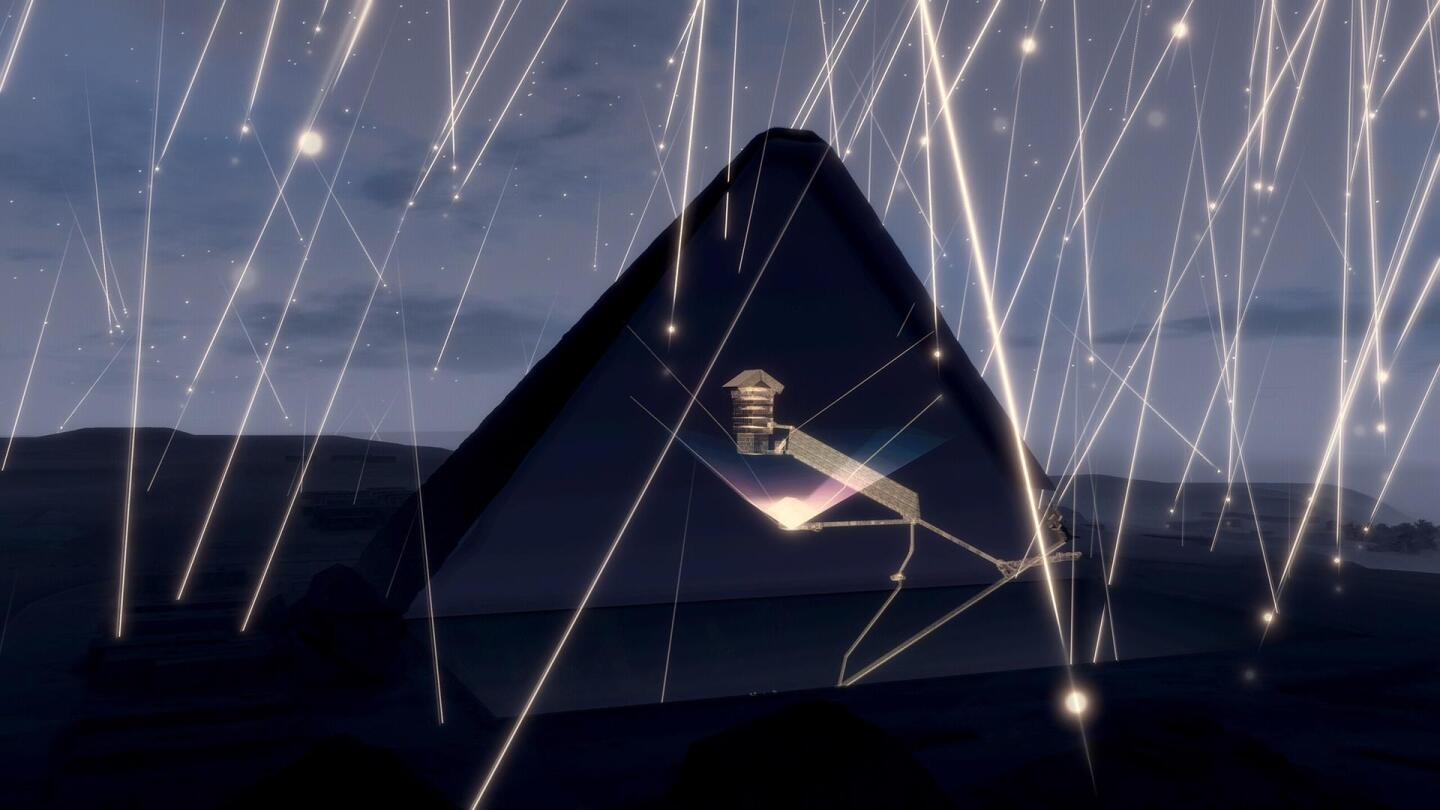 "An illustration of beams of light outside the Great Pyramid of Giza. | ""Secrets of the Dead: Scanning the Pyramids"""