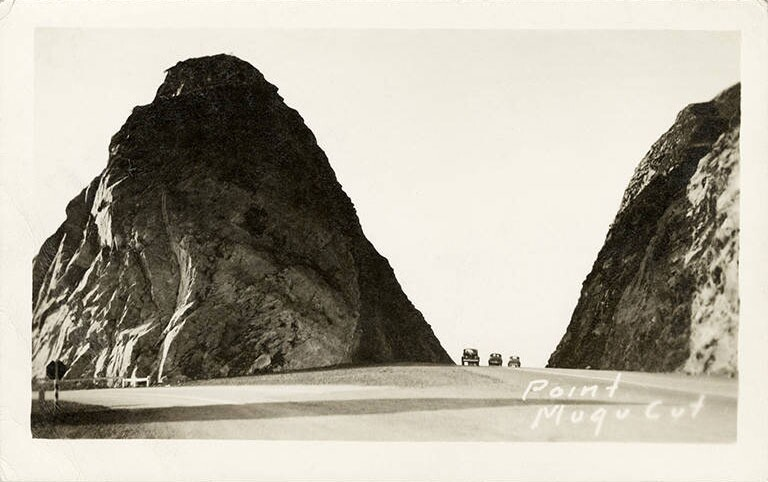 From 1937-40, workers blasted a roadcut through Point Mugu. The rocky stub of the headlands, Mugu Rock, now appears frequently in car commercials. Undated photo courtesy of the Santa Monica Public Library Image Archives.