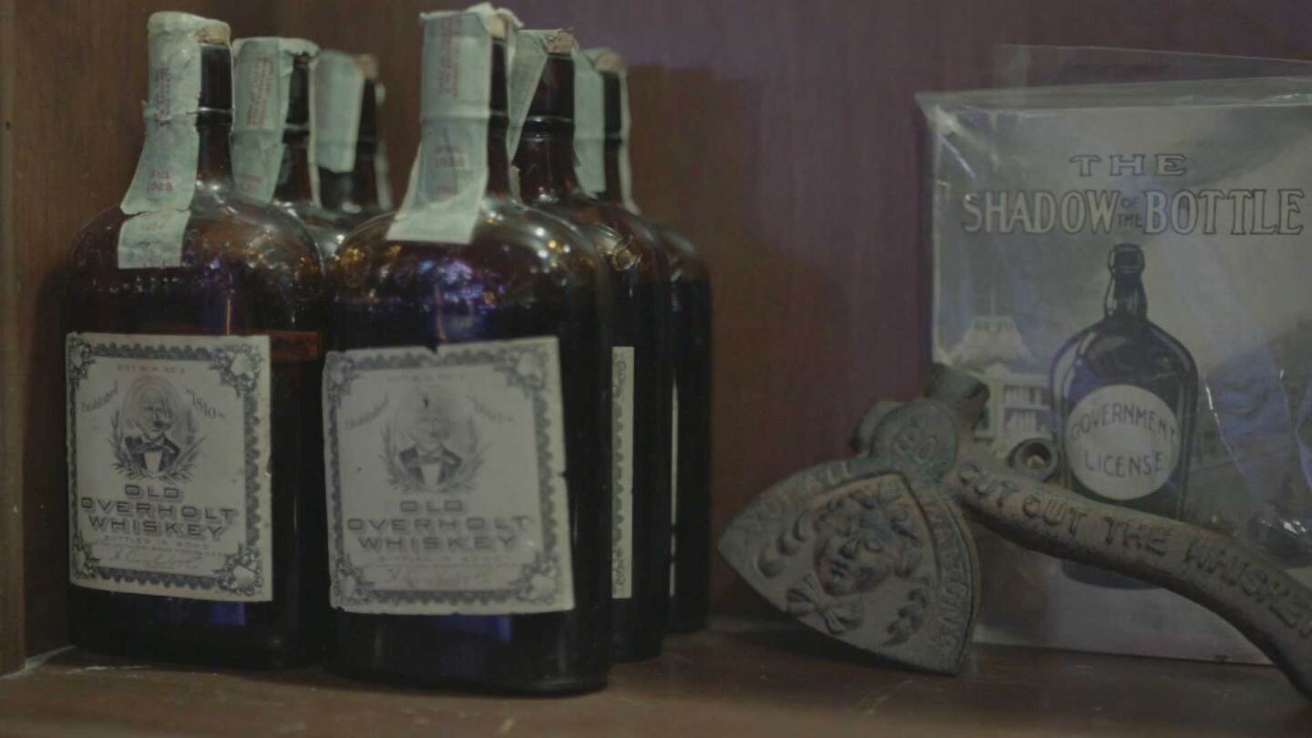 "Del Monte Speakeasy's collection of pre and Prohibition whiskey | Still from ""Lost LA"" Prohibition"