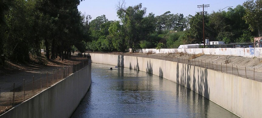 LA River, terraced seating and native wildlife habitat - Before